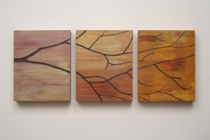 T.U.P. Three Branch (Gold Orange) 2010 acrylic on birch panels 10 inches X 26 inches X 1 inch