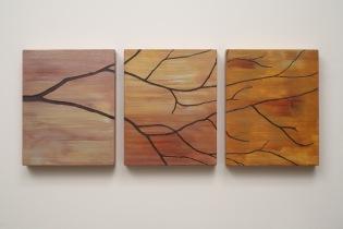 T.U.P. Three Branch (Gold Orange) 2010 acrylic on birch panels 10 inches X 26 inches X 1 inch