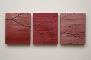 T.U.P. Three Branch (Pink Grey) 2010 acrylic on birch panels 10 inches X 26 inches X 1 inch