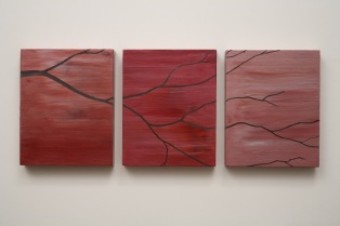 T.U.P. Three Branch (Pink Grey) 2010 acrylic on birch panels 10 inches X 26 inches X 1 inch