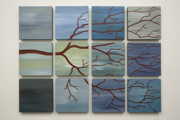 T.U.P. Twelve Tree (Green Blue) 2010 acrylic on birch panels 26 inches X 34 inches X 1 inch
